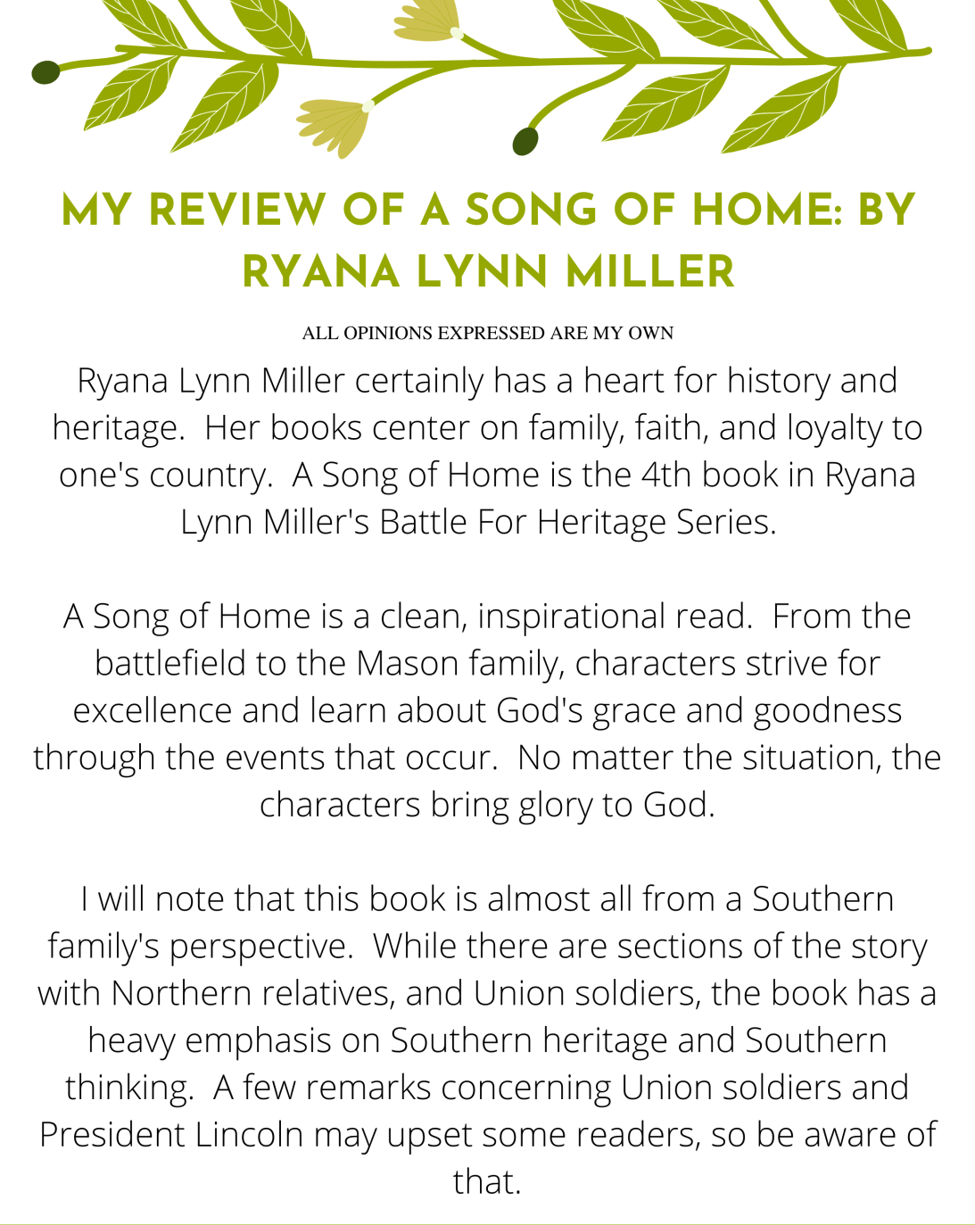 Page 1 of - My Review of A Song of Home by Ryana Lynn Miller