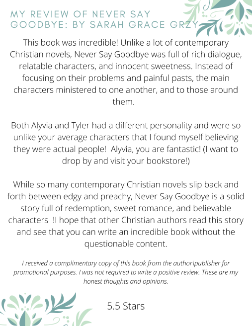 Page 2 Book Synopsis for Never Say Goodbye